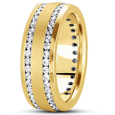 Tow Row Channel Diamond Yellow Band