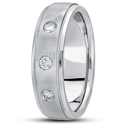 3 Round Diamond Milligrain Mens Bezel Band