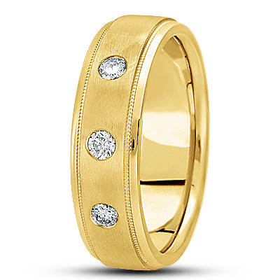 Round Diamond Milligrain Mens Yellow Band