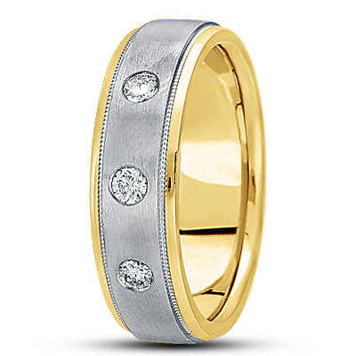 Round Diamond Milligrain Mens Two Tone Band