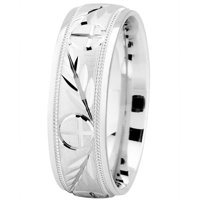 Engraved Wheat & Cross Wedding Band