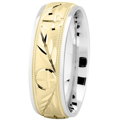 Engraved Wheat & Cross Two Tone Band