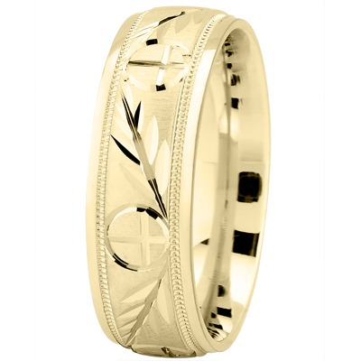 Engraved Wheat & Cross Yellow Band