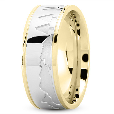 Nature Inspired Wedding Band in Two Tone