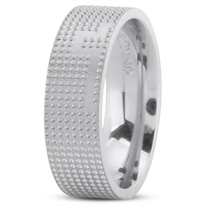 Engraved Cross Wedding Band Set