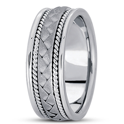 Sand Blast Interwoven Rope Men's Wedding Band