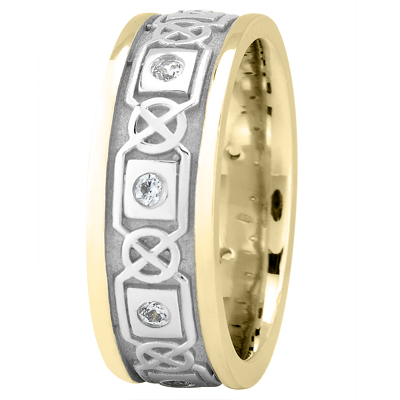 Celtic Two Tone Wedding BandRound Diamonds
