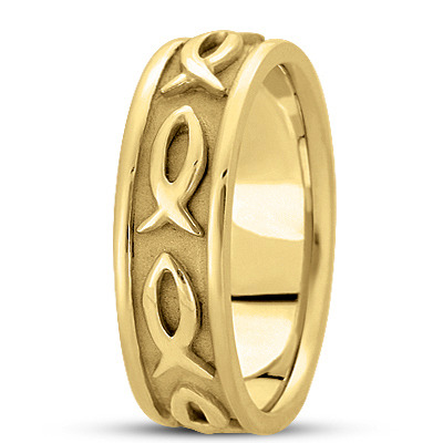 Ichthys Men's Wedding Ring in Yellow Gold 7mm
