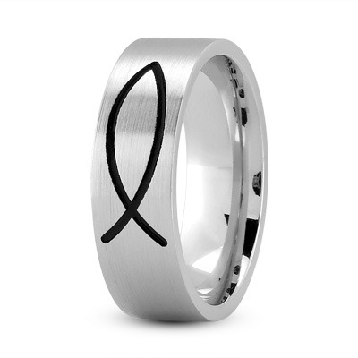 Black Rhodium Ichthus Ring 7mm White