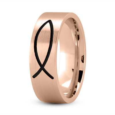 Black Rhodium Ichthus Ring Rose Gold