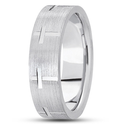 Religious Wedding Band with Cross Design, 7mm