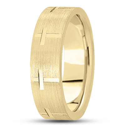 Religious Wedding Band with Cross Design in Yellow Gold, 7mm