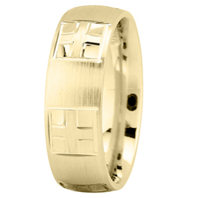 Engraved Religious Men Wedding Band in Yellow Gold