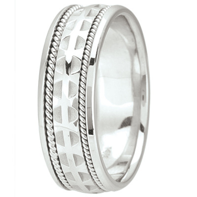 Mens Wedding Band with Cross Pattée & Rope Edging, 7mm