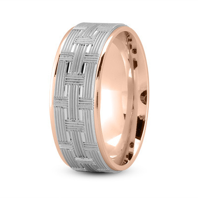 8mm Weave Engraved Wedding Band in Two Tone