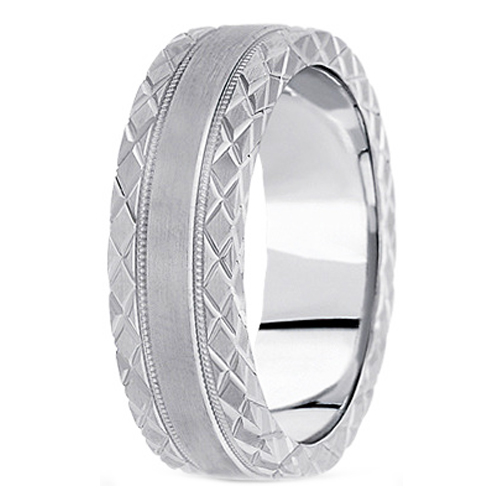 14K White Gold 7 mm Men's Satin Diamond Cut Wedding Ring