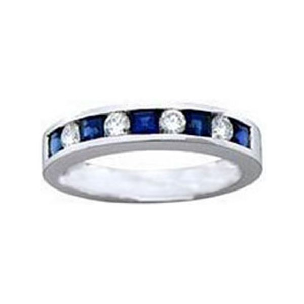Nine Stone Diamond & Blue Sapphire Wedding Band 0.82 tcw. In 14K White Gold.