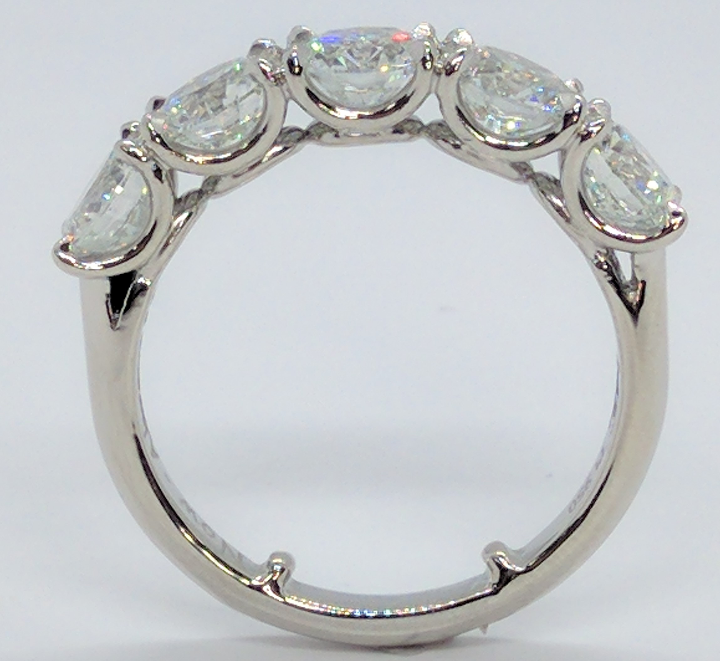 5 Stone Diamond U-Prong Wedding Ring GIA 3.5 ct.