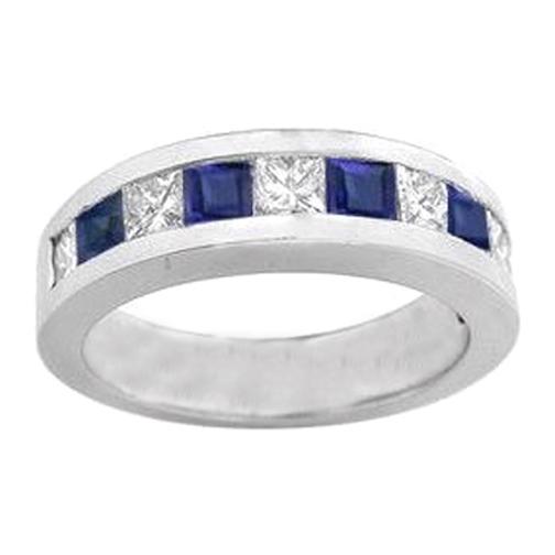 Nine Stone Princess Cut Diamond Sapphire Channel Set Wedding Band 037 Tcw In 14K White