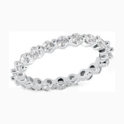 Round Diamond Eternity Wedding Band Prong set in 14K White gold 0.75 tcw.