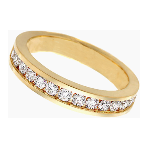 round diamond wedding band g vs2 050 tcw channel set in 14k yellow gold - Yellow Gold Wedding Rings