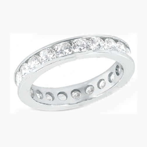 Round Diamond Eternity Wedding Anniversary band 0.68 tcw. Channel Set in 14K White gold