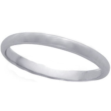 Rounded Wedding Ring in 14K White Gold (2 mm)