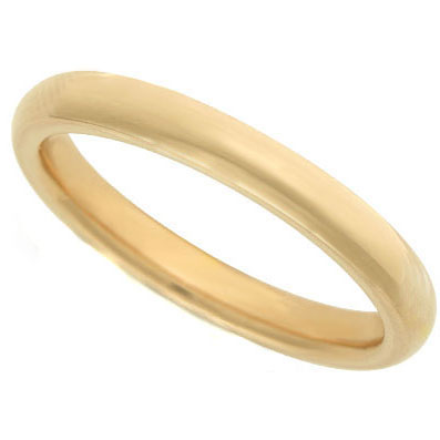 Rounded Wedding Ring in 14K Yellow Gold (2 mm)