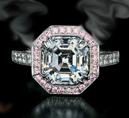 Asscher Diamond Engagement Ring Setting with Diamonds and Pink sapphire Like Nicole Richie