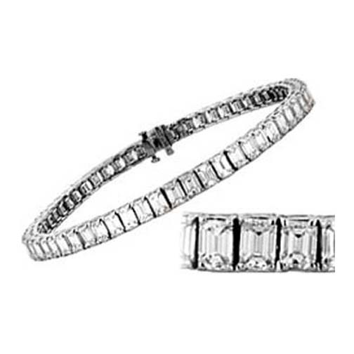 11 Carat Emerald Cut Diamond Tennis Bracelet G-H VS