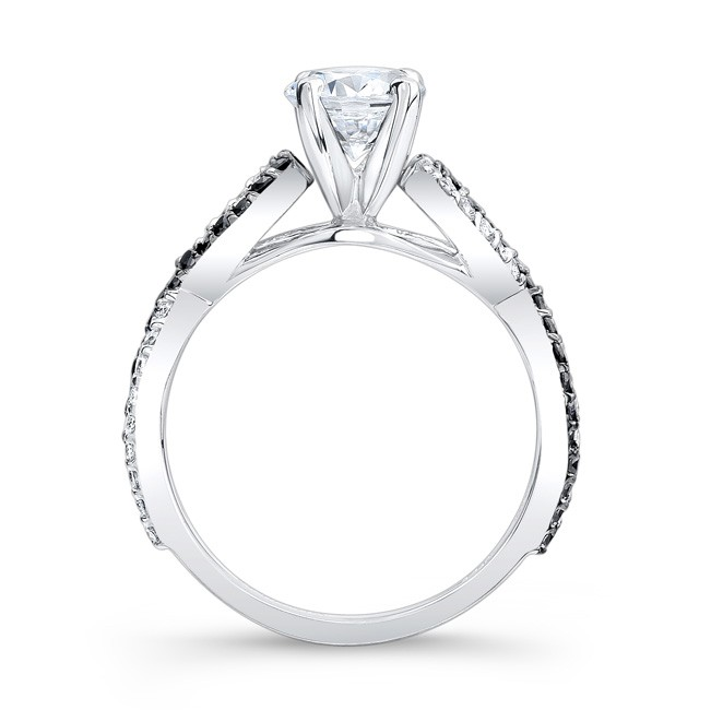 Black & White Infinity Diamond Engagement Ring in 14K White Gold