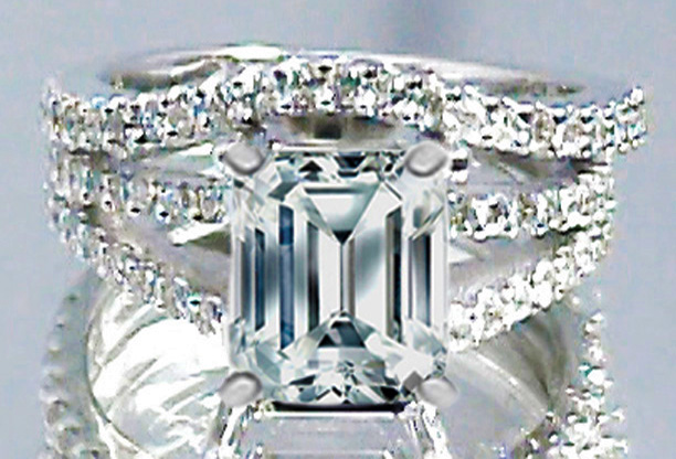 Engagement Ring Emerald Cut Diamond Split Band Engagement Ring