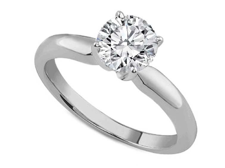 Classic Solitaire Diamond Engagement Ring Dome Tapered Band in 14K White Gold