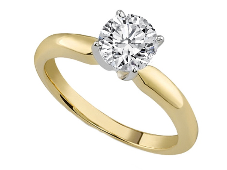 Classic Solitaire Diamond Engagement Ring Dome Tapered Band in 14K Yellow Gold