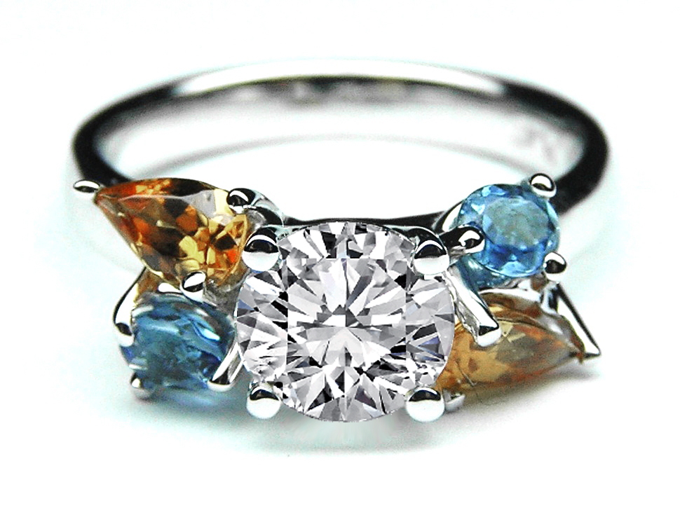 Round diamond engagement ring multi gem stones accents