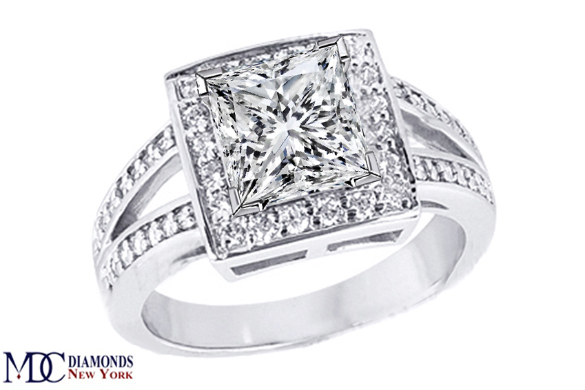 Engagement Ring Square Halo Split Band Princess Cut Diamond Engagement Ring