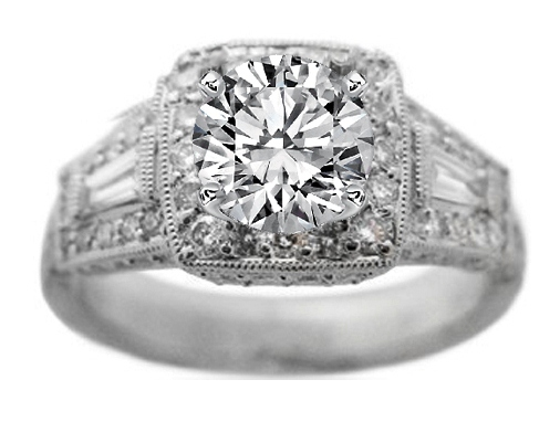 Vintage Diamond Engagement Ring Setting in Platinum 0.86 tcw.