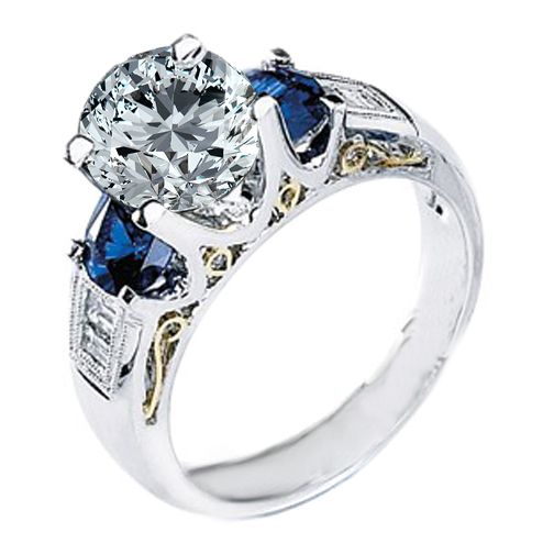 Handcrafted Two-tone Yellow Gold & Platinum Diamond and sapphire Engagement Ring Setting 0.70 tcw.