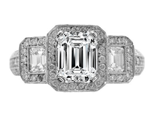 Vintage style Diamond Engagement Ring Setting in Platinum 1.52 tcw.