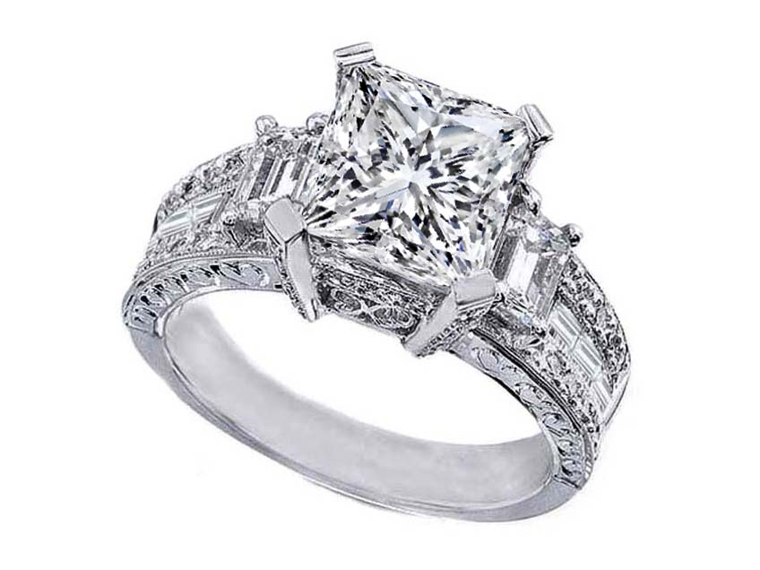 Princess Cut Diamond Vintage Style Engagement Ring Setting With Emerald Side Stones