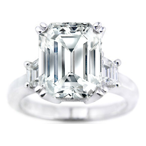 Trapezoid Diamond Platinum Engagement Ring Setting 0.65 tcw.