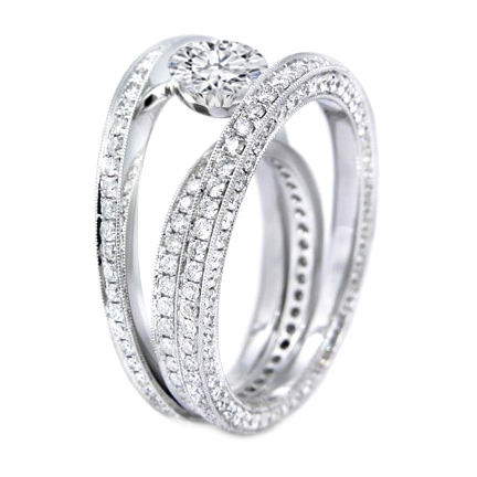Trio Eternity  Band Diamond Engagement Ring in Platinum