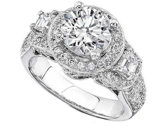 Round Diamond Vintage Halo Engagement Ring Trapezoids side stones in 14K White Gold