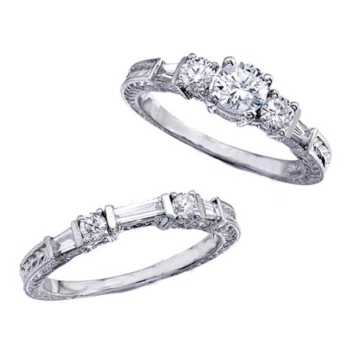 Engagement Ring Vintage Style Engagement Ring Setting and wedding band Set i