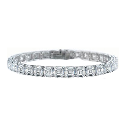 12 Carat Asscher cut Diamond Tennis Bracelet F - VS