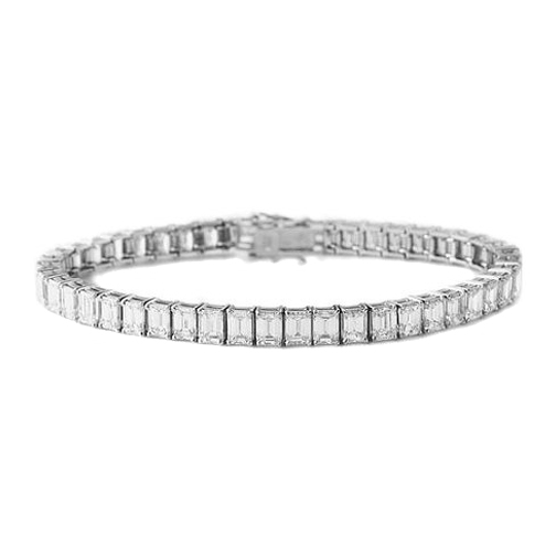 32 Carat Emerald Diamond Tennis Bracelet G-H - VS