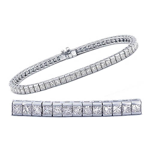 7.36 Carat Princess cut Diamond Tennis Bracelet G-H - SI