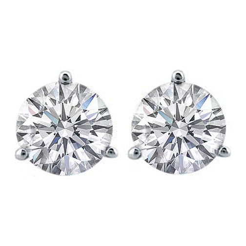 0.41 tcw. Three Prong Round Brilliant Diamonds Stud Earrings, F VS