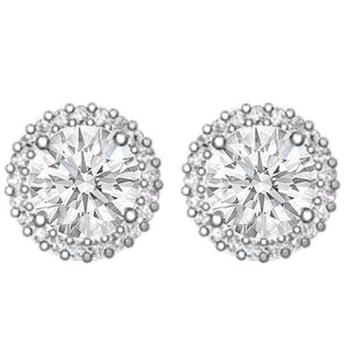 1.58 carats tcw. Halo Round Cut Diamond Earrings in 14 Karat White Gold H SI2