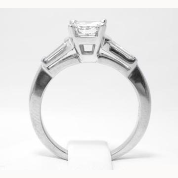 eb31af49916f91 14K White Gold Asscher Cut Diamond Engagement Ring Tapered Baguette Accents  0.20 tcw. 14K White Gold